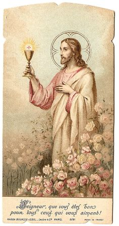 Jesus with Communion Chalice in Rose Garden by 12StarsVintage