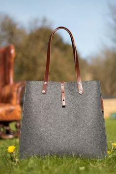 Tasche Einkaufstasche grau Filz Tasche Wolle grau Filz von Rambag