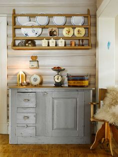 LOG WALLS: The beautiful timber walls are retrieved from oblivion. The cabinet is old, purchased by Oddrunn girlfriend. Log Wall, Timber Walls, Oblivion, China Cabinet, Nars, Scandinavian, Kitchen Ideas, British, Japanese
