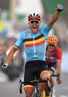 Greg Van Avermaet celebrates after winning the Men's Road cycling race Rio 2016 Olympic Games / AFP