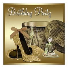 Pearls High Heel Shoes Black Gold Womans Birthday Custom Invite 60th Party Invitations Glitter