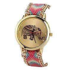 Vovotrade®Frauen Elefant-Muster gesponnenes Seil-Band-Armband-Quarz Vorwahlknopf-Armbanduhr(Hot Pink) - http://uhr.haus/vovotrade/vovotrade-frauen-elefant-muster-gesponnenes-hot