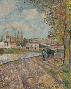 Camille Pissarro 1830 - 1903 CHEMIN DE L'ÉCLUSE, SAINT-OUEN-L'AUMÔNE Signed C. Pissarro and dated 1882 (lower left) Oil on canvas 25 1/2 by 21 5/8 in. Painted in 1882.