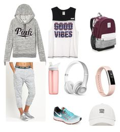 """Sem título #104"" by angelica-curitiba ❤ liked on Polyvore featuring Victoria's Secret, MINKPINK, Fitbit, Beats by Dr. Dre, CamelBak and NIKE"