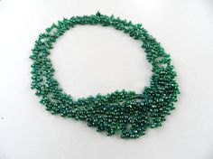 FREE SHIP shiny emerald green  beads kolye by geranum on Etsy, $23.00