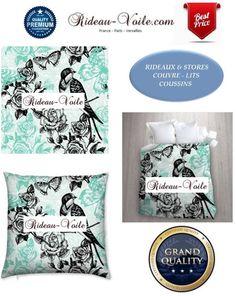 Imprimés à motifs d'oiseaux et fleurs pour rideaux sur mesure, stores, coussins & housse de couettes dans tissus sur personnalisés (de Rideau-voile)