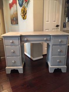 Antique Desk refinished in French Linen and distressed.