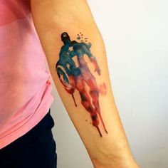 Captain America in watercolor. | 31 Insanely Awesome Marvel Tattoos That'll Inspire The Superhero In You || Seriously amazing.