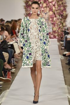 A glorious garden of embroidery on this white Persian lamb coat. Oscar de la Renta Spring 2015 RTW. #nyfw #OscardelaRenta #spring2015
