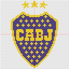 escudo de boca juniors en punto cruz - Buscar con Google Cross Stitch Patterns, Crochet Patterns, C2c Crochet, Perler Beads, Pixel Art, Needlepoint, Origami, Mosaic, Tapestry
