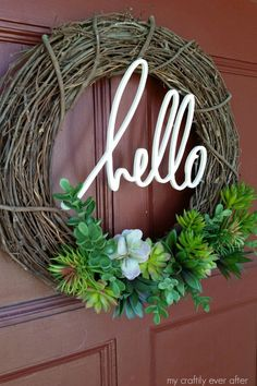 hello succulent wreath