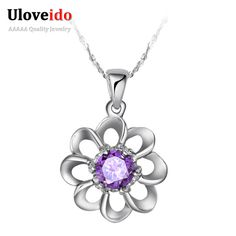Find More Pendant Necklaces Information about Fashion Necklaces for Women 2016 Crystal Silver 925 Flower Necklace Gift Necklaces & Pendants Accessories Jewelery Uloveido N033,High Quality necklace rack,China necklace ideas Suppliers, Cheap necklace gift from Uloveido Official Store on Aliexpress.com