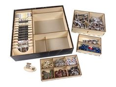 You don't have time for a long set-up when the zombies are closing in. Start fighting faster with our Dead of Winter game box organizer. This organizer is designed to fit inside of the Dead of Winter game box. All game pieces are contained within removable trays making setup a breeze.  The card lane is wide enough for sleeved cards and we include 11 adjustable dividers.
