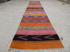 KITCHEN RUNNER with colorful stripes, Soft Colors, Bohemian Turkish Traditional…