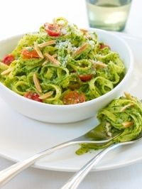 Spinach Almond Pesto with Linguini
