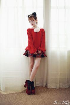 《新作》ボンボン襟調節バルーンニット-全3色-T1286|Autumn Winter Collection | Bobon21(ボボンニジュウイチ)