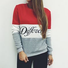 2017 Women Pullover Autumn Hoodies Letters Different Printed Mix Color Casual Fleece Sweatshirts Sudaderas Mujer #Affiliate