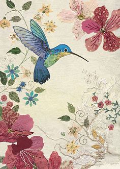 BugArt ~ Azalea Hummingbird. Amy's Cards *NEW* Original embroideries by Amy Butcher. Cards designed by Jane Crowther.