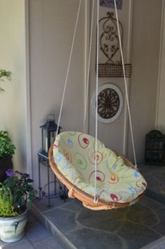 Vintage papasan chair bamboo wicker with base oval round for Diy indoor hanging chair