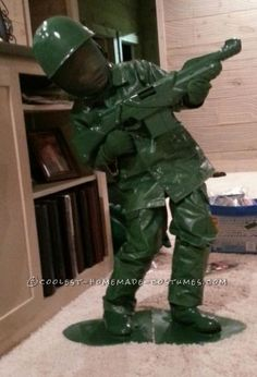My six year old son Blade asked to dress up as Green Army man from Toy Story. I started with regular clothing.  I painted two times with semi gloss ...