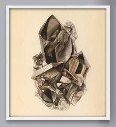 Smoky Quartz Art Print, Gem and Mineral Rock Art, Mineral Print, Antique Rock Art Print, Crystal Pri How To Age Paper, Framed Prints, Art Prints, Affordable Art, Antique Prints, Smoky Quartz, Rocks And Minerals, Rock Art, Fine Art Paper
