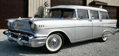 Silver 1957 chevy station wagon - nice!