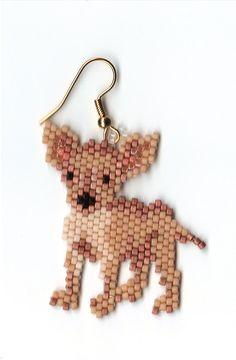 Hand beaded  sweet little Chihuahua dog dangle by jjsims43 on Etsy