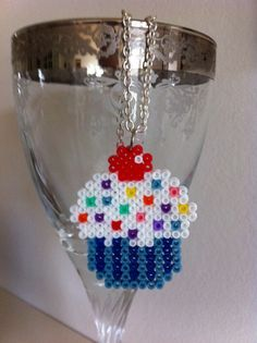 Cupcake necklace hama perler beads by Frk. Whinter