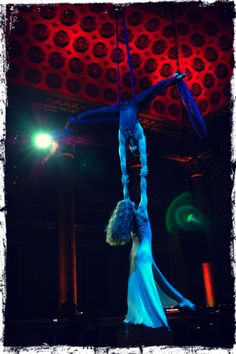 Angela and Joshua perform a flying silks act at Capitale in NYC