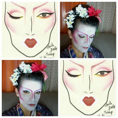 Neo Geisha Halloween makeup, with sketch. Japanese inspired