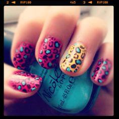 bright leopard print mani