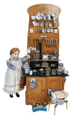 German Wooden Kitchen Cabinet for Child's Play 1910
