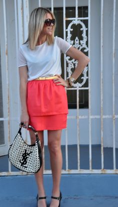 I need ideas for my coral BCBG skirt...