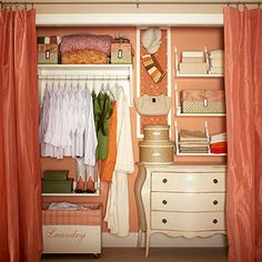 Pretty storage closet. Love this idea. Wish I had this amount of stuff though.... I have WAY too much :P