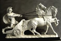 The chariot in this spectacular statue was copied from a Roman chariot which F.A. Franzoni reconstructed in the seventeenth century from actual pieces which had been found. It is now to be seen in The Vatican Museum in Rome. Equestrian statues have for centuries been a supreme challenge to sculptors.