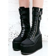 Demonia Wyvern Rider Platform Boots (54.360 CRC) ❤ liked on Polyvore featuring shoes, boots, demonia footwear, platform boots, kohl shoes, side zip boots and black shoes