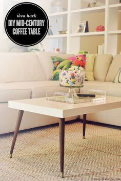 Ikea Hack - DIY Mid-Century Modern Coffee Table using Lack Coffee Table
