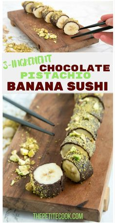 Chocolate Pistachio Banana Sushi - All you need is just 3 ingredients and 15 minutes to make this easy dessert that is naturally gluten-free, dairy-free and vegan! Recipe by thepetitecook.com