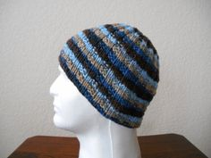 Hand knit 100 wool hat by stickshooksandyarn on Etsy, $20.00