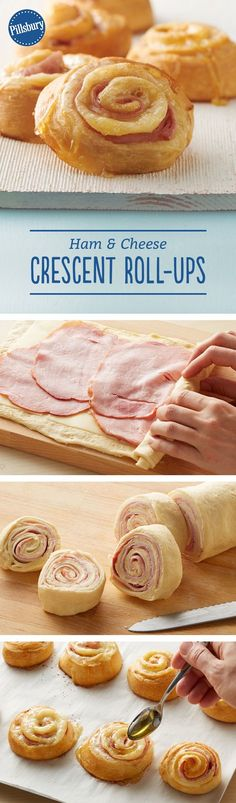 Ham and Cheese Crescent Roll-Ups These roll-ups are a great new way to enjoy ham and Swiss cheese sandwiches. Rolled up in crescent dough and finished with a drizzle of honey, these will quickly become a favorite. We think they even could pass Crescent Roll Recipes, Pilsbury Crescent Recipes, Snacks Saludables, Good Food, Yummy Food, Think Food, Snacks Für Party, Party Appetizers, Cheap Appetizers