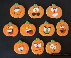 Silly Pumpkin Faces with Royal Icing Transfers Klickitat Street design and cookies by Sarah Trefny http://www.klickitatstreet.com/