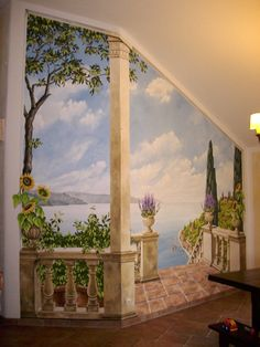 Mural. www.raumkuenste.de Mural Painting, House Painting, Mural Wall Art, Watercolor Landscape, Wall Wallpaper, Painting Techniques, Wall Tapestry, Home Art, Art Decor