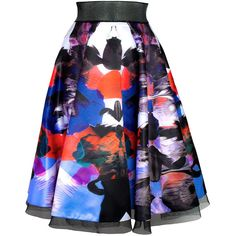 House of Ronald Satin Circle Skirt ($340) ❤ liked on Polyvore featuring skirts, saias, patterned skater skirt, circle skirt, flared skirts, print skirt and satin circle skirt