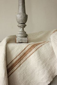 ❤︎    vegetable dyed caramel striped homespun linen ~ www.textiletrunk.com