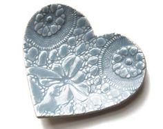 Seafoam heart soap plate in turquoise blue stoneware by PrinceDesignUK