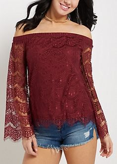 Burgundy Lace Off-Shoulder Bell Sleeve Top | rue21