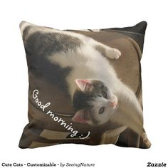 Customizable Throw Pillow made by Zazzle Home. Personalize it with photos & text or shop existing designs! Pillow Fight, Cute Cats, Create Your Own, Told You So, Throw Pillows, Pets, Design, Kawaii Cat, Cushions
