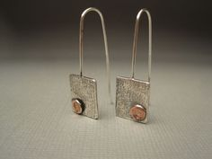 Sterling Silver Earrings with Copper Accents. $54.00, via Etsy.  Want...want.