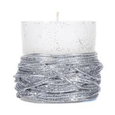 "White Pillar Candle with Silver Roping - 3"" x 3"""