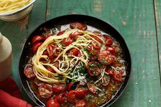 Spaghetti in Cherry Tomato Sauce by Taste. If you're stuck for inspiration, try this easy pasta dish that you can put together with just a few ingredients. Cherry Tomato Sauce, Roasted Cherry Tomatoes, Tomato Sauce Recipe, Sauce Recipes, Pasta Recipes, Dinner Recipes, Cooking Recipes, Dinner Ideas, Noodle Recipes